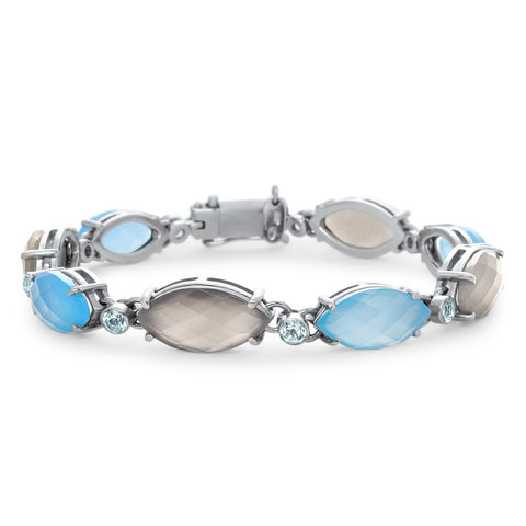 875 Silver Bracelet with Blue Agate, Gray Moonstone