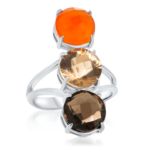 875 Silver Ring with Carnelian, Smoky Quartz, Yellow Citrine