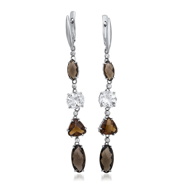 925 Silver Earrings with Smoky Quartz, Rock Crystal