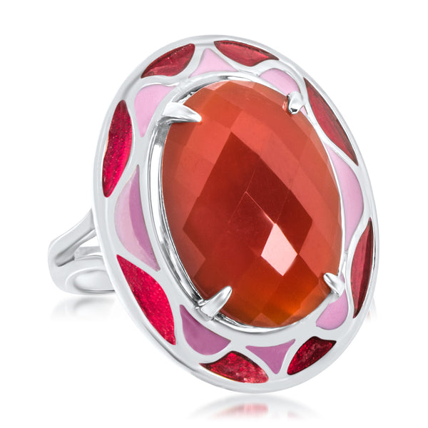 925 Silver Ring with Carnelian, Pink Enamel, Red Enamel