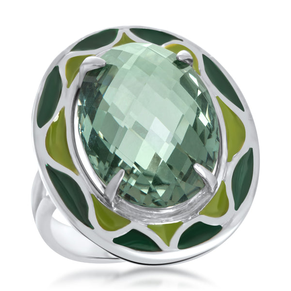 925 Silver Ring with Green Quartz, Green Enamel
