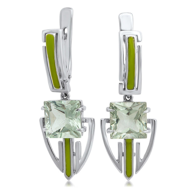 875 Silver Earrings with Prasiolite, Green Enamel