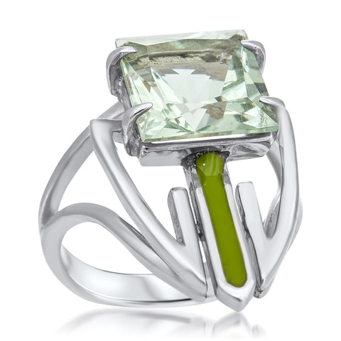 875 Silver Ring with Prasiolite, Green Enamel