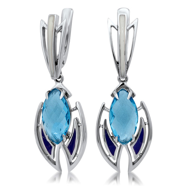 875 Silver Earrings with Blue Topaz, Purple Enamel