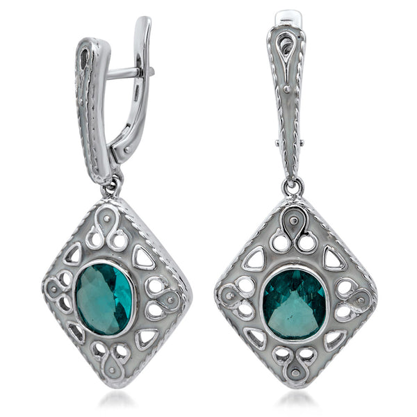 875 Silver Earrings with Aquamarine, White Enamel