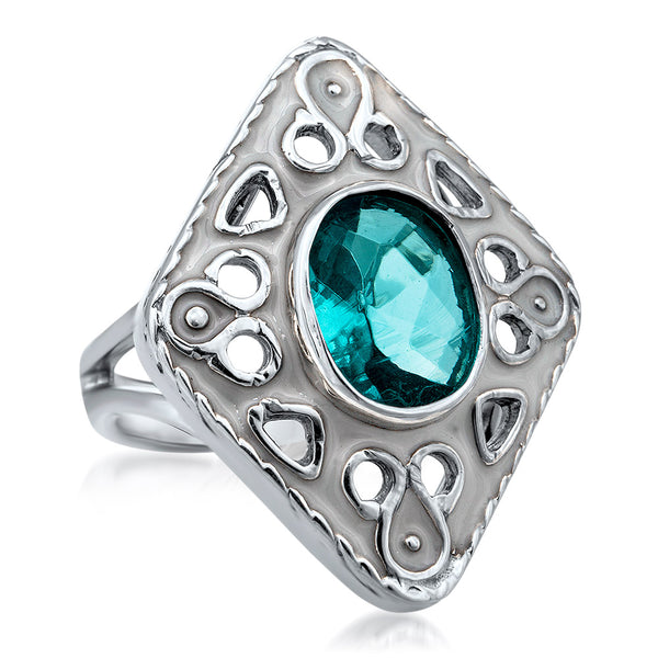 875 Silver Ring with Aquamarine, White Enamel