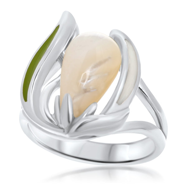 925 Silver Ring with White Mother of Pearl, Green Enamel, White Enamel