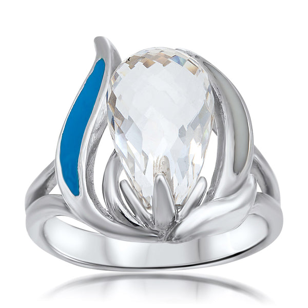 875 Silver Ring with Rock Crystal, Blue Enamel, White Enamel
