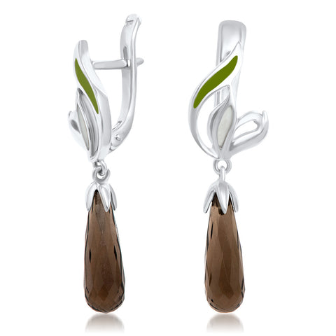925 Silver Earrings with Smoky Quartz, Green Enamel, White Enamel