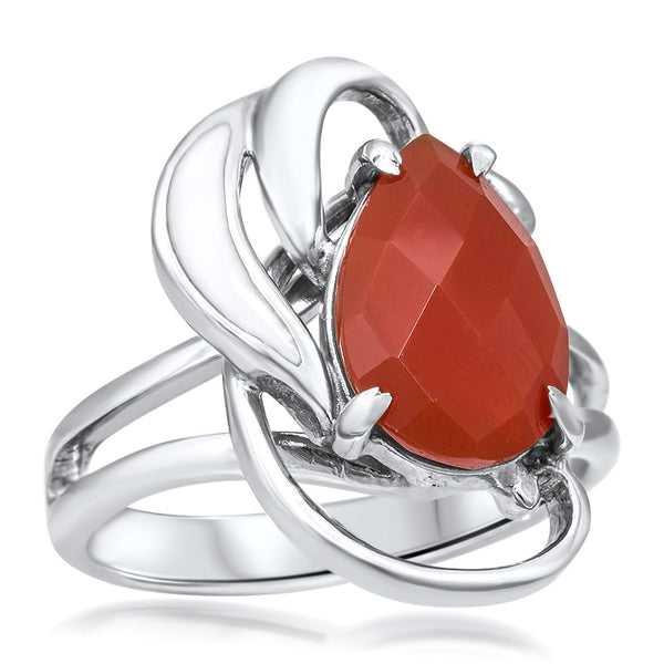 875 Silver Ring with Carnelian, White Enamel