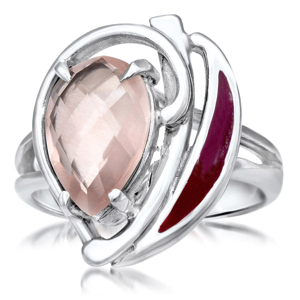 875 Silver Ring with Pink Quartz, Red Enamel