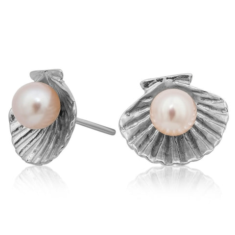 875 Silver Earrings with Pink Cultured Pearl