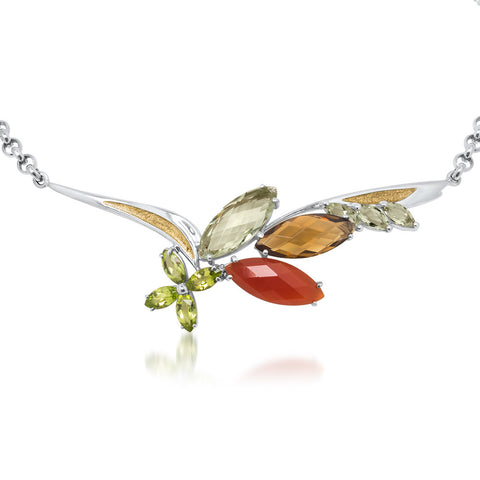 875 Silver Necklace with Carnelian, Prasiolite, Cognac Citrine, Peridot