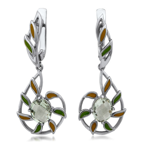 875 Silver Earrings with Prasiolite, Green Enamel, Yellow Enamel