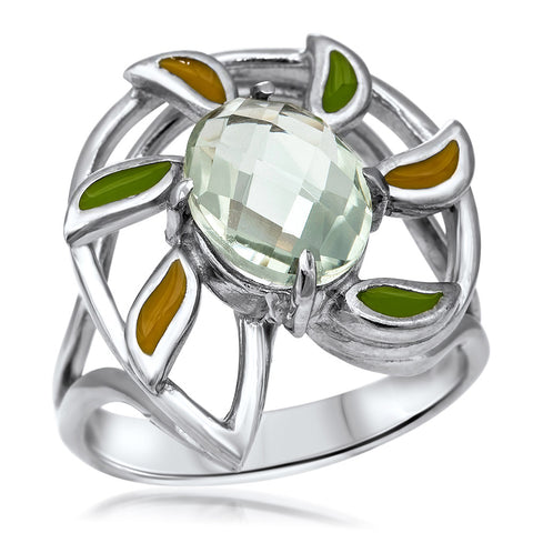 875 Silver Ring with Prasiolite, Green Enamel, Yellow Enamel