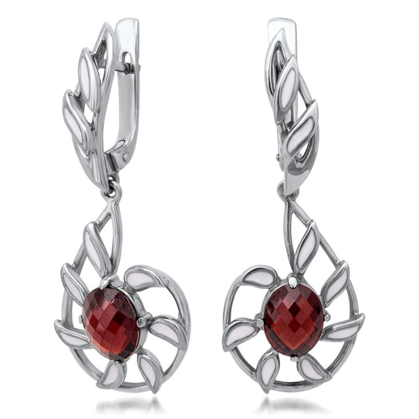 875 Silver Earrings with Garnet, White Enamel