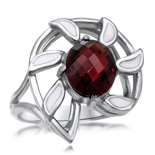 875 Silver Ring with Garnet, White Enamel