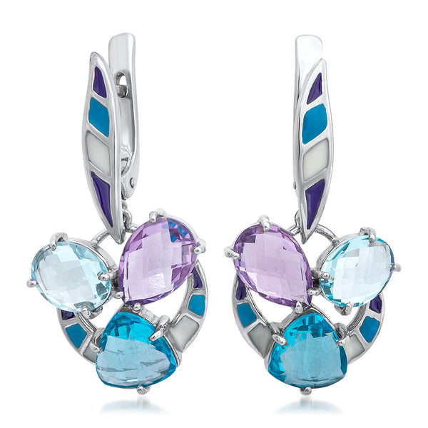 875 Silver Earrings with Amethyst, Blue Topaz, Blue Enamel, Purple Enamel, White Enamel