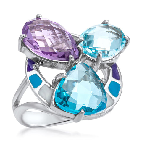 875 Silver Ring with Amethyst, Blue Topaz, Blue Enamel, Purple Enamel, White Enamel