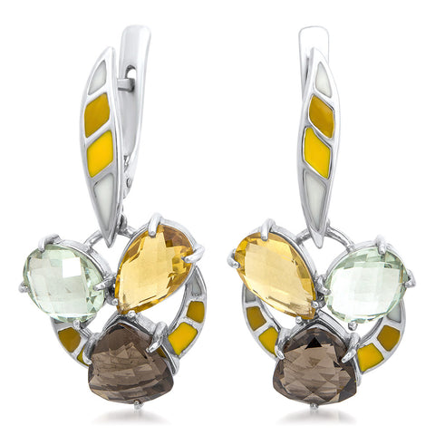875 Silver Earrings with Yellow Citrine, Prasiolite, Smoky Quartz, White Enamel, Yellow Enamel