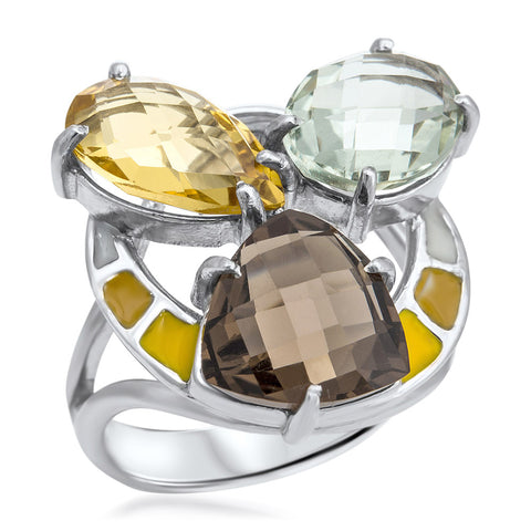 875 Silver Ring with Yellow Citrine, Prasiolite, Smoky Quartz, White Enamel, Yellow Enamel