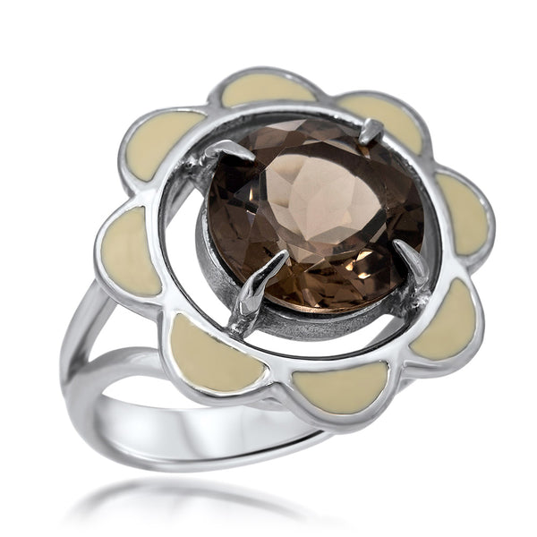 875 Silver Ring with Smoky Quartz, White Enamel