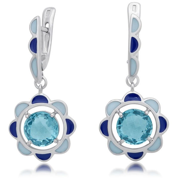 875 Silver Earrings with Topaz, Blue Enamel, White Enamel
