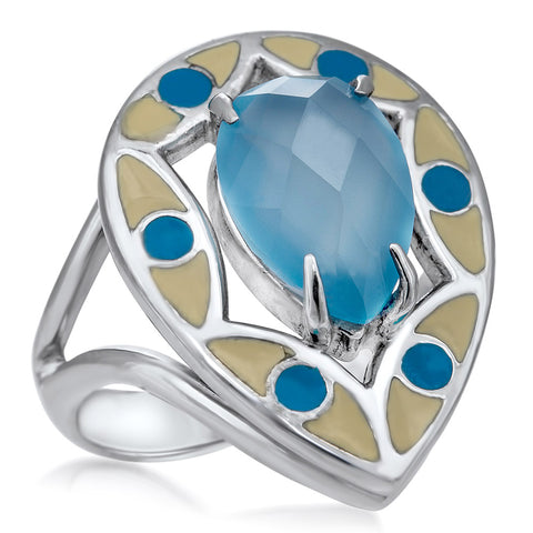 875 Silver Ring with Blue Agate, Blue Enamel, White Enamel