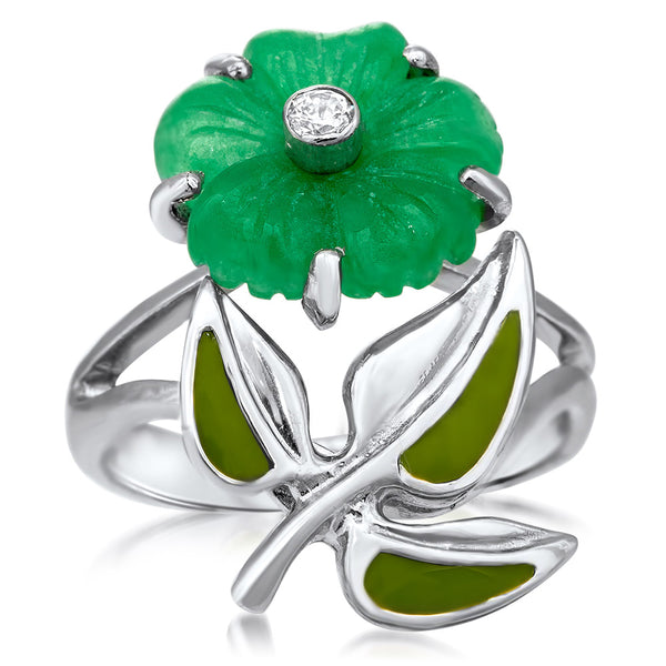 875 Silver Ring with Green Jade, Green Enamel