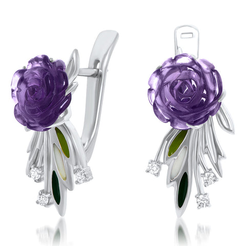 925 Silver Earrings with Amethyst, Green Enamel, White Enamel
