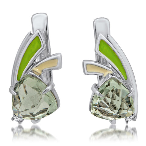 875 Silver Earrings with Prasiolite, Green Enamel, White Enamel