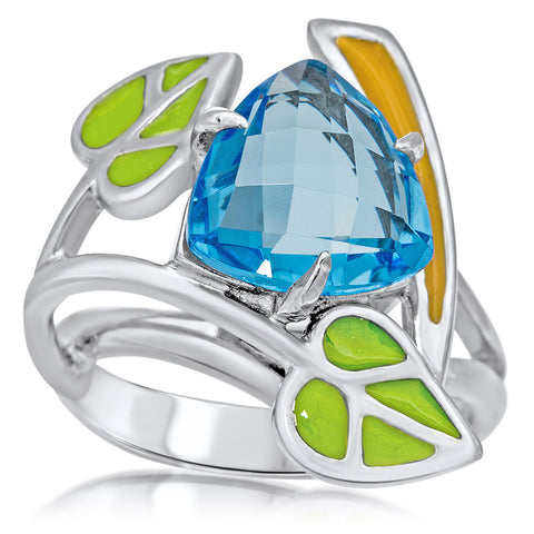 875 Silver Ring with Blue Topaz, Green Enamel, Yellow Enamel