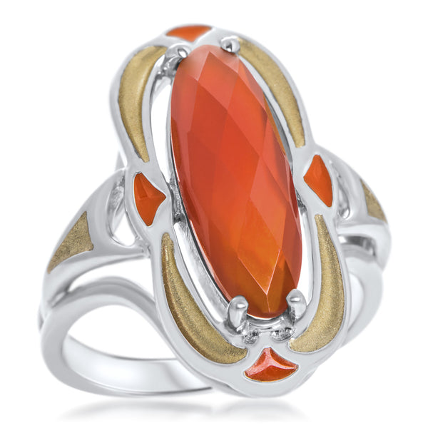 875 Silver Ring with Carnelian, Brown Enamel
