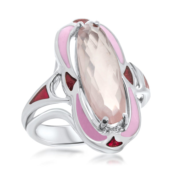 925 Silver Ring with Pink Quartz, Pink Enamel, Red Enamel