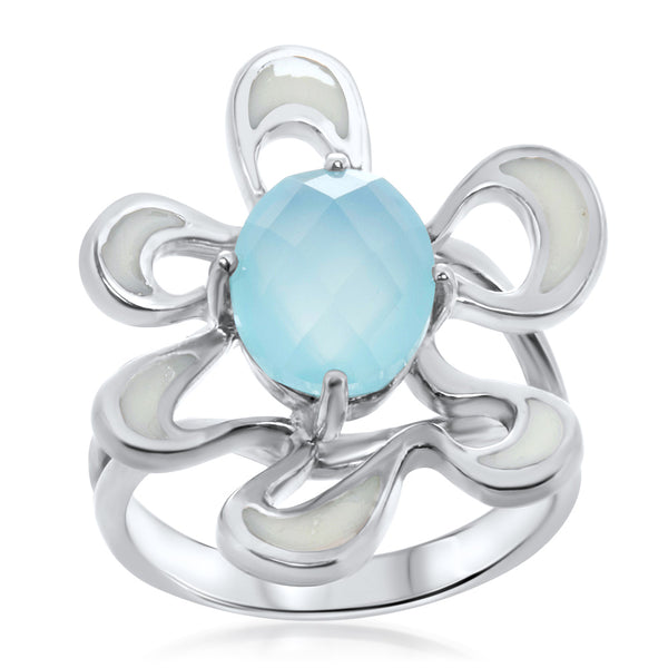 925 Silver Ring with Blue Agate, Enamel