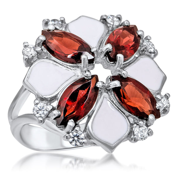 875 Silver Ring with Garnet, Pink Enamel