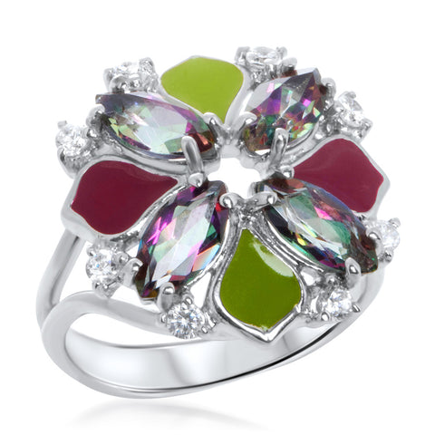 925 Silver Ring with Mystic Quartz, Green Enamel, Red Enamel