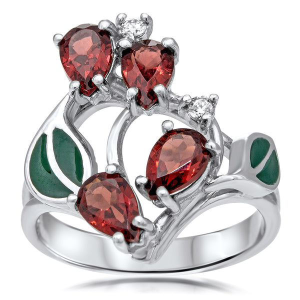 875 Silver Ring with Garnet, Green Enamel