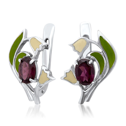 875 Silver Earrings with Garnet, Green Enamel, White Enamel