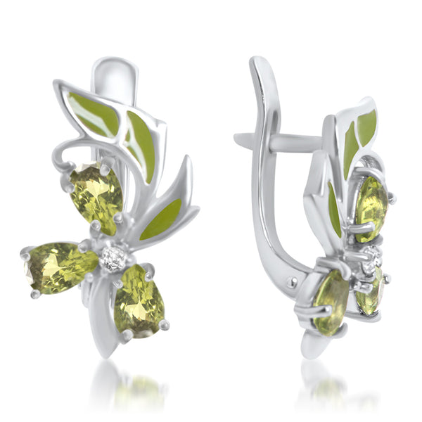 925 Silver Earrings with Peridot
