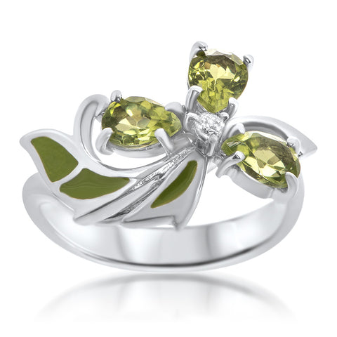 925 Silver Ring with Peridot