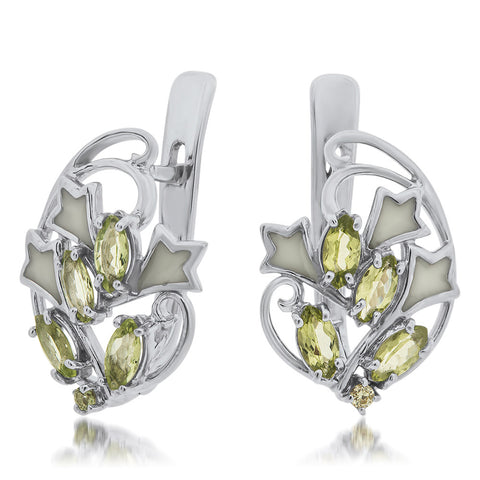 925 Silver Earrings with Peridot, White Enamel