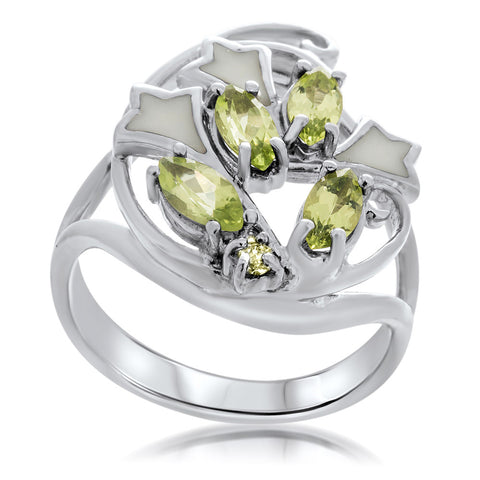 925 Silver Ring with Peridot, White Enamel