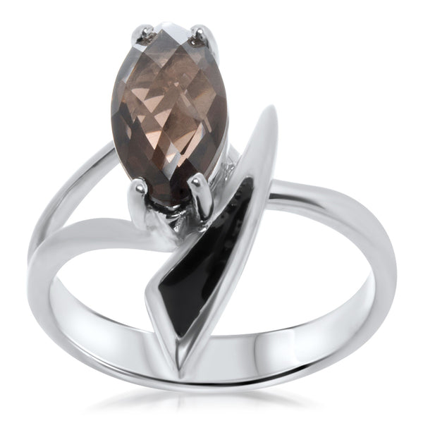 925 Silver Ring with Smoky Quartz, Brown Enamel
