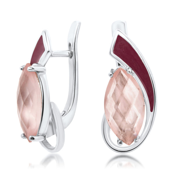 875 Silver Earrings with Pink Quartz, Red Enamel