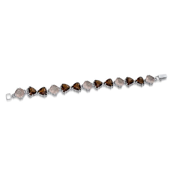 925 Silver Bracelet with Pink Quartz, Smoky Quartz