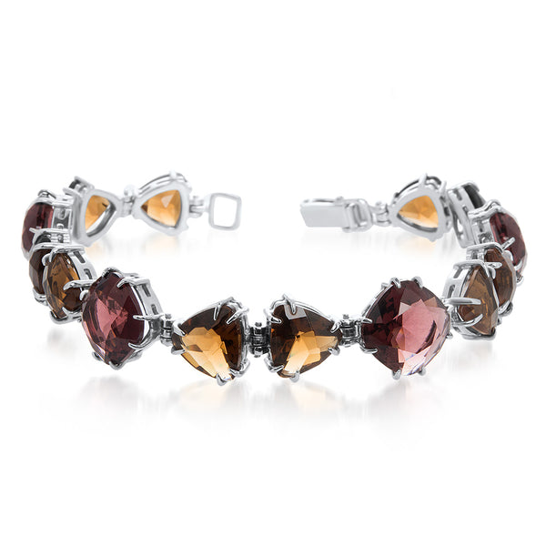 925 Silver Bracelet with Garnet, Smoky Quartz