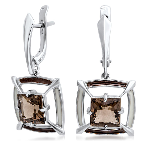 925 Silver Earrings with Smoky Quartz, Brown Enamel, White Enamel