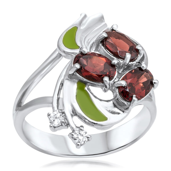 925 Silver Ring with Garnet, Green Enamel