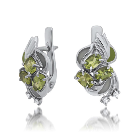 925 Silver Earrings with Peridot, Green Enamel, White Enamel